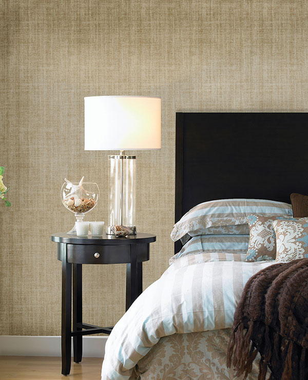 Gold peel and stick wallpaper with linen print