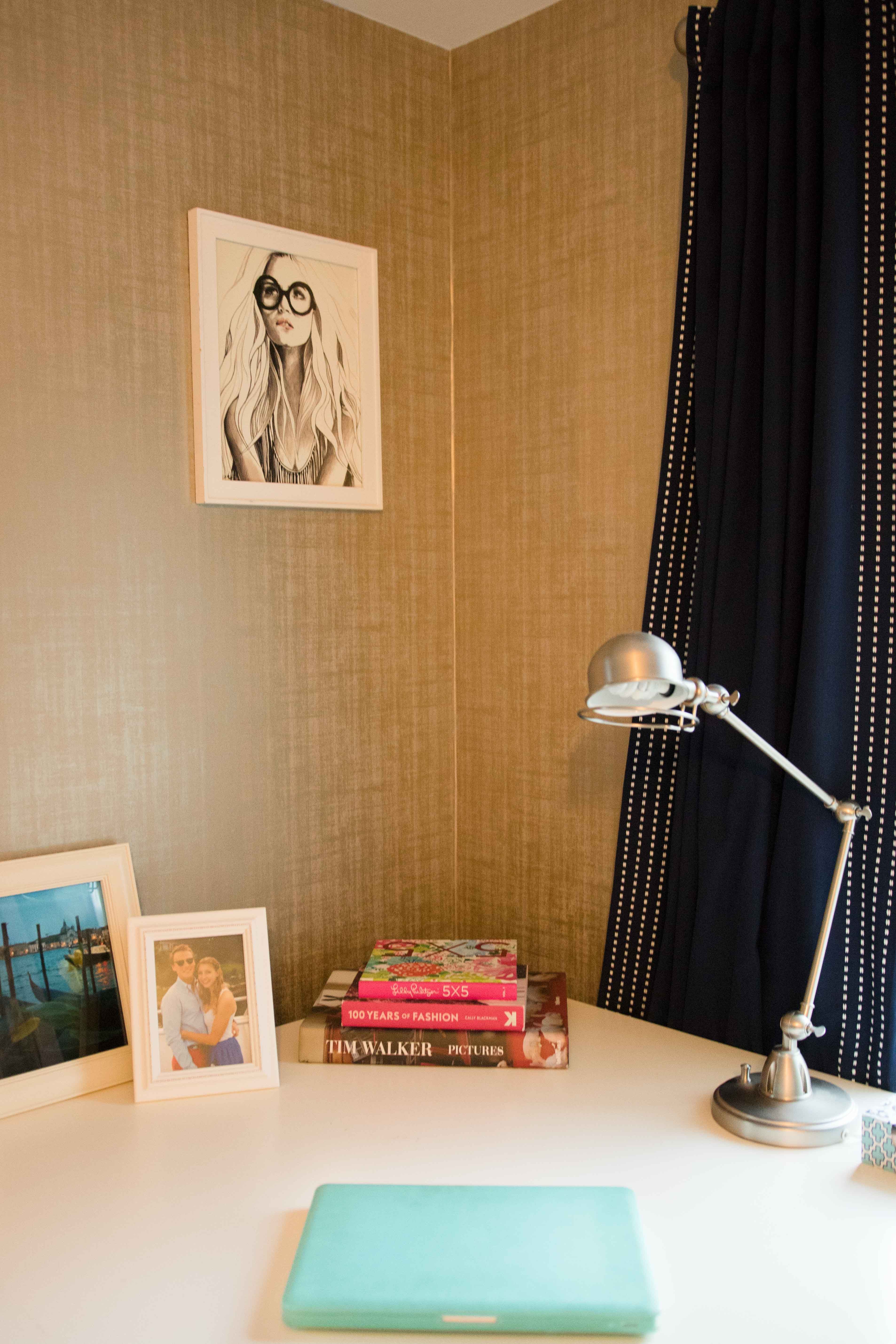 home office makeover with peel and stick wallpaper