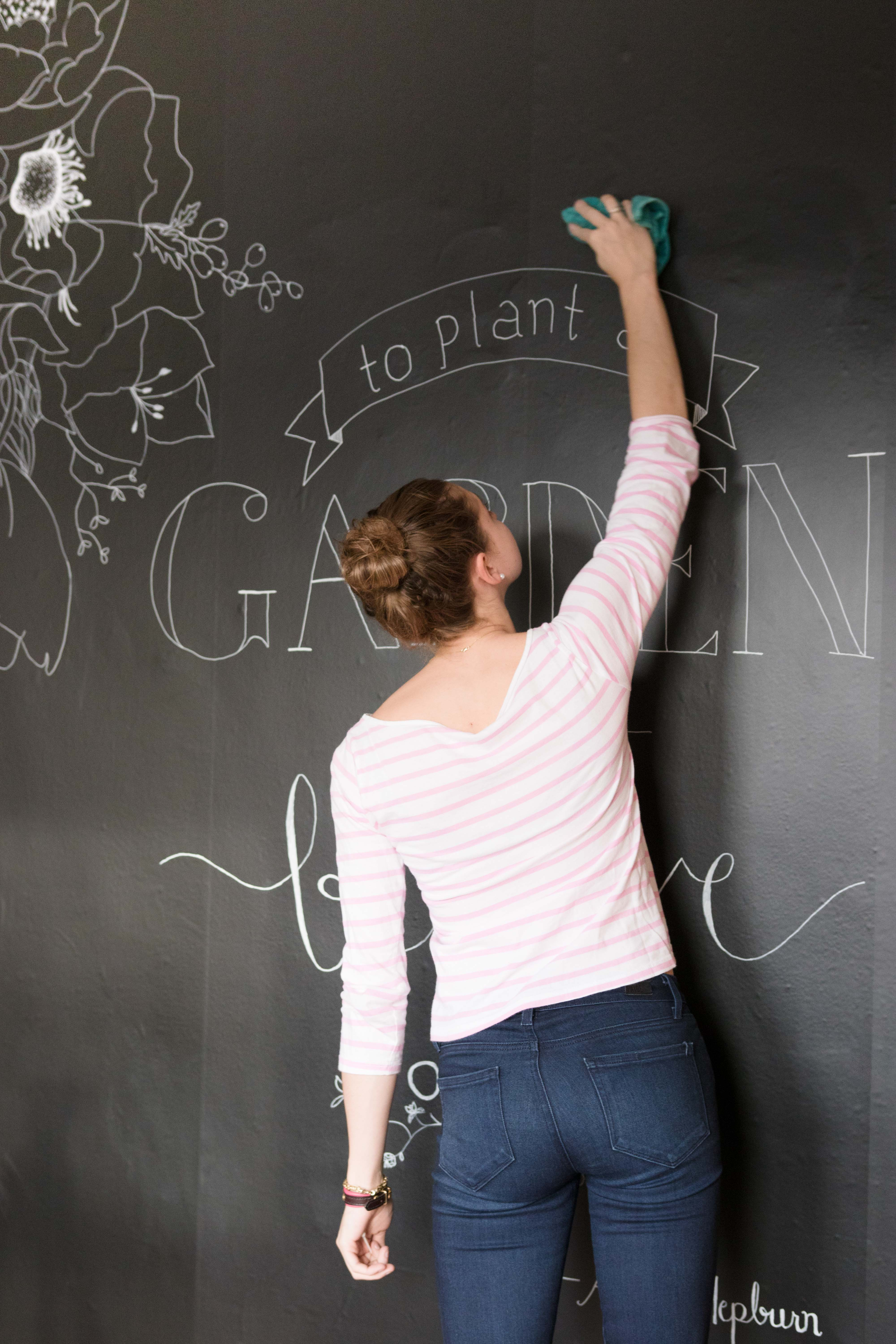 Cleaning Chalkboard Peel and Stick Wallpaper