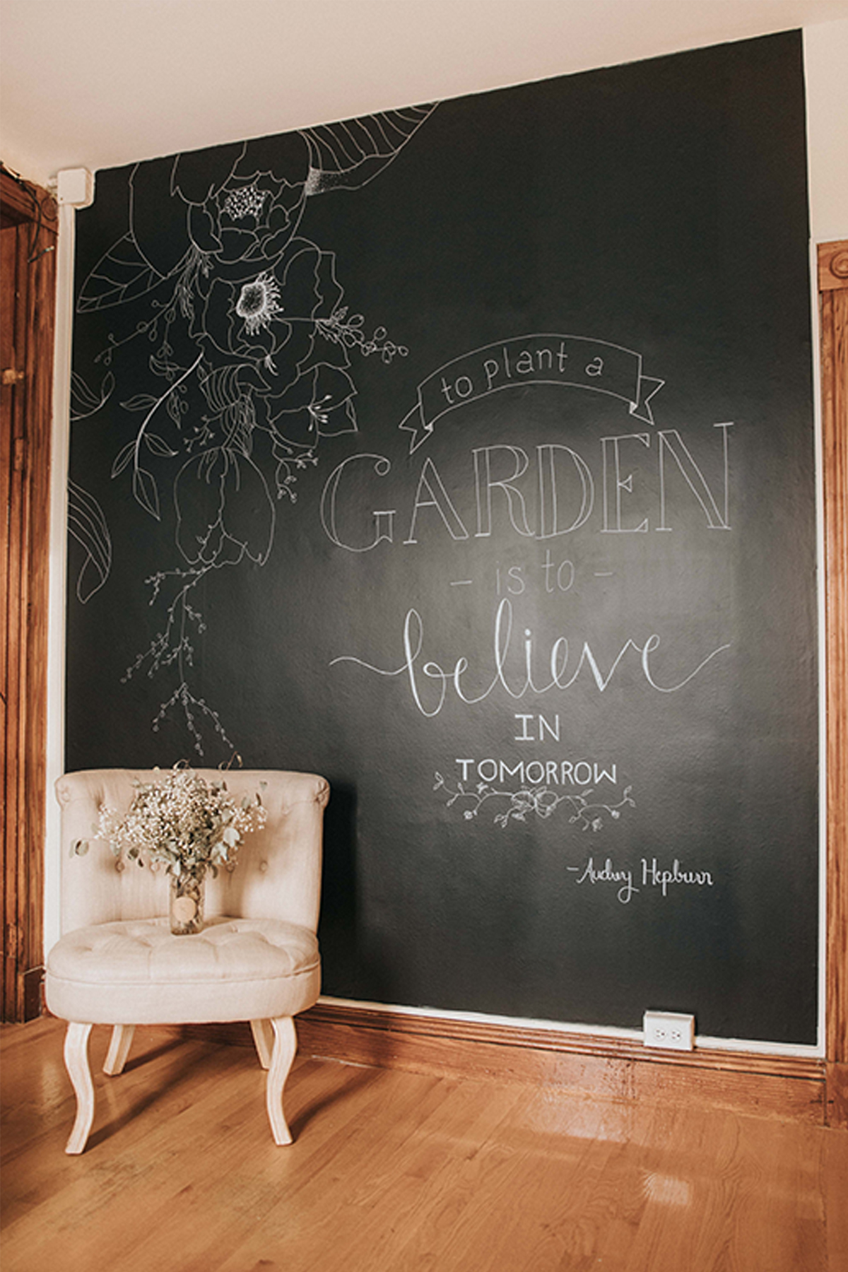 Hand Lettered Chalk Wall Mural