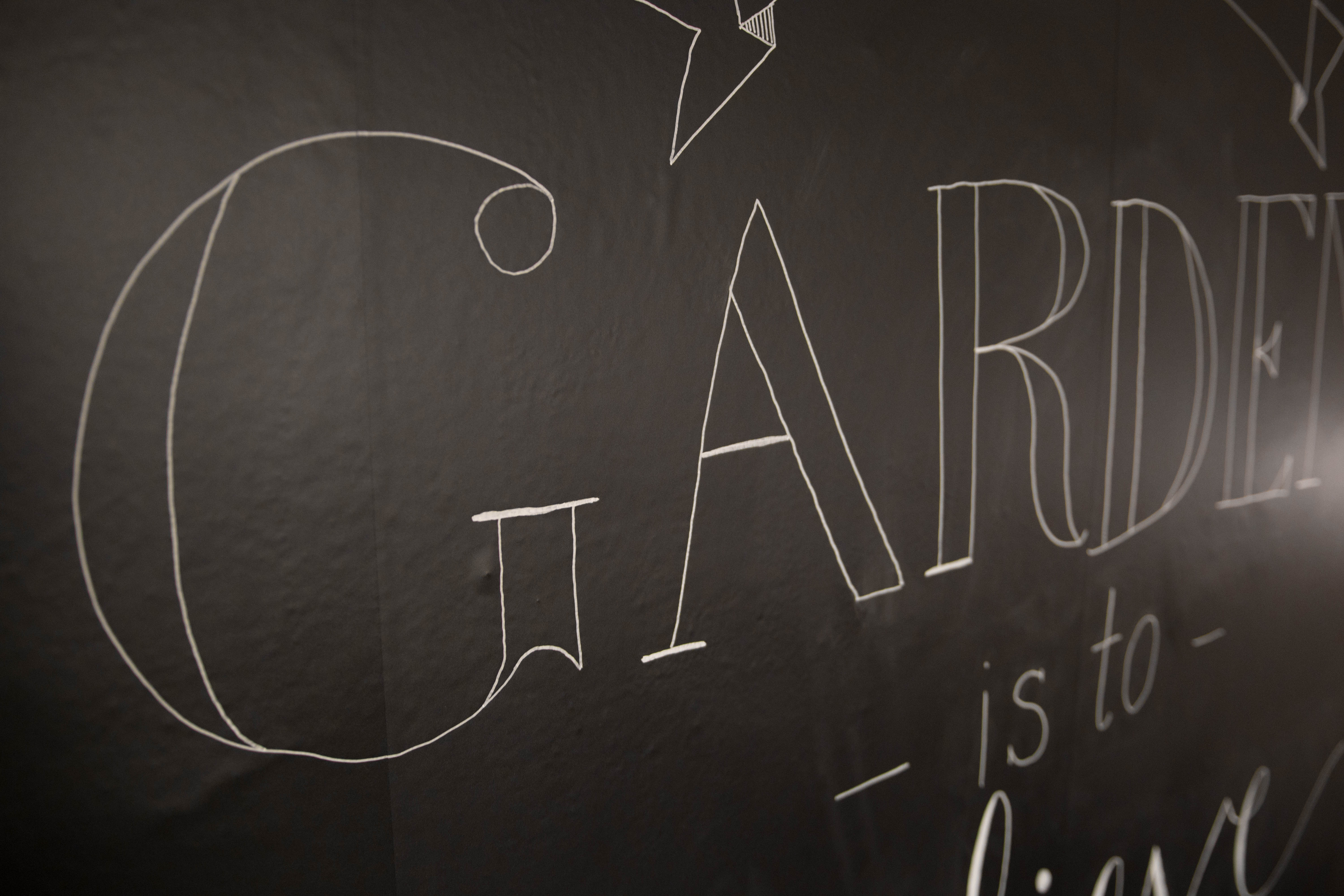 Hand Lettering on Chalkboard Peel and Stick Wallpaper