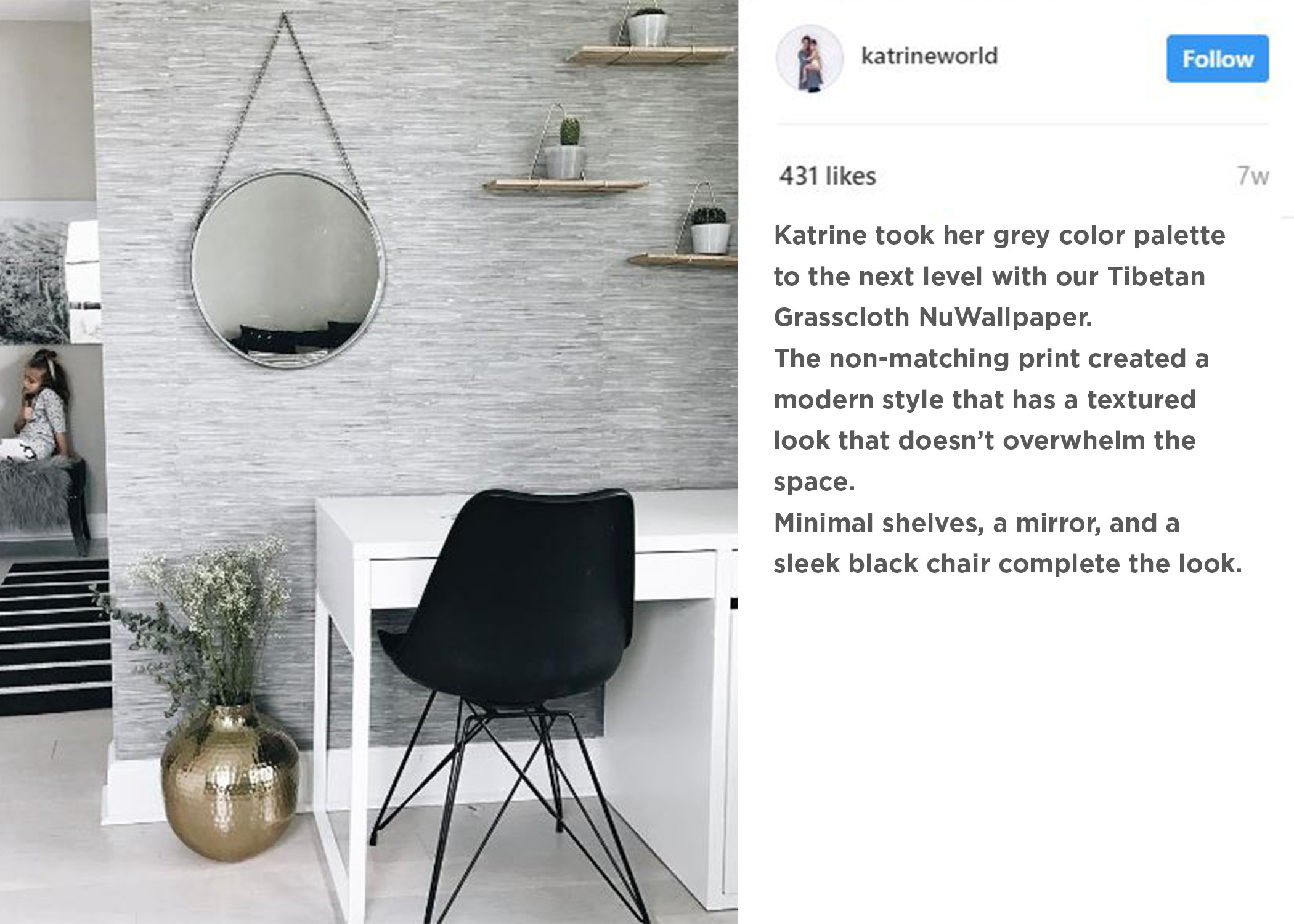 Gray Grasscloth NuWallpaper in Modern Home Office