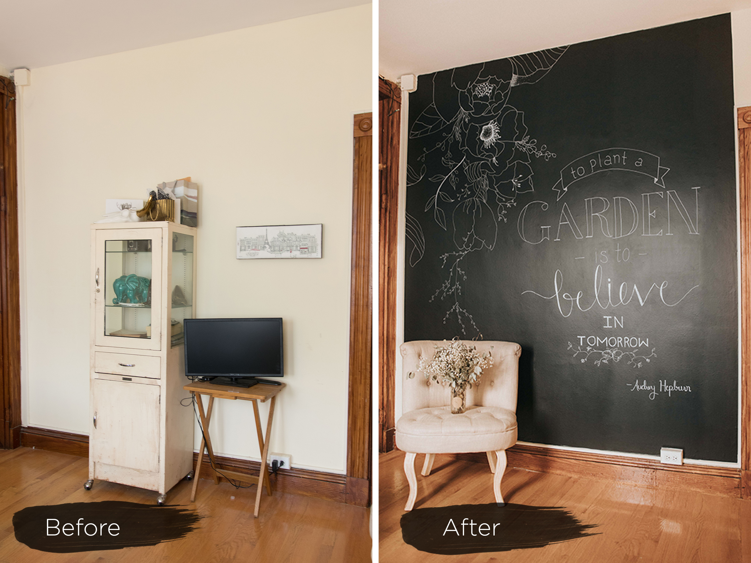 Chalkboard Removable Wallpaper Before And After