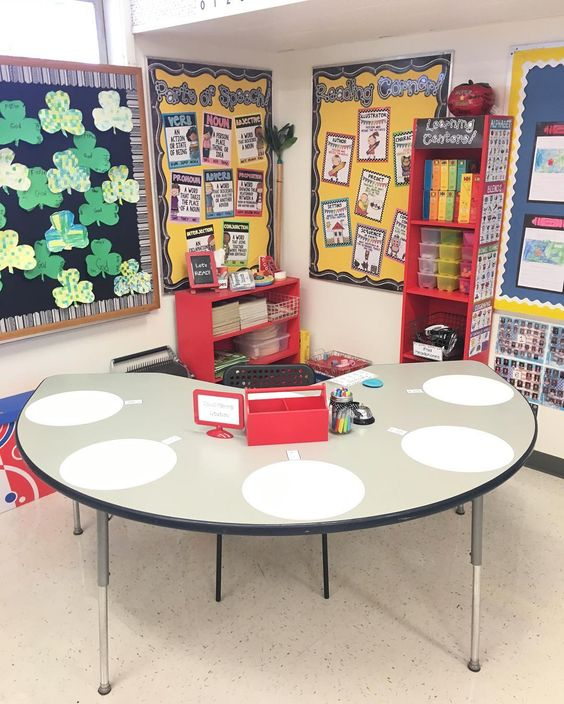 Small group learning station with WallPops dry erase dots
