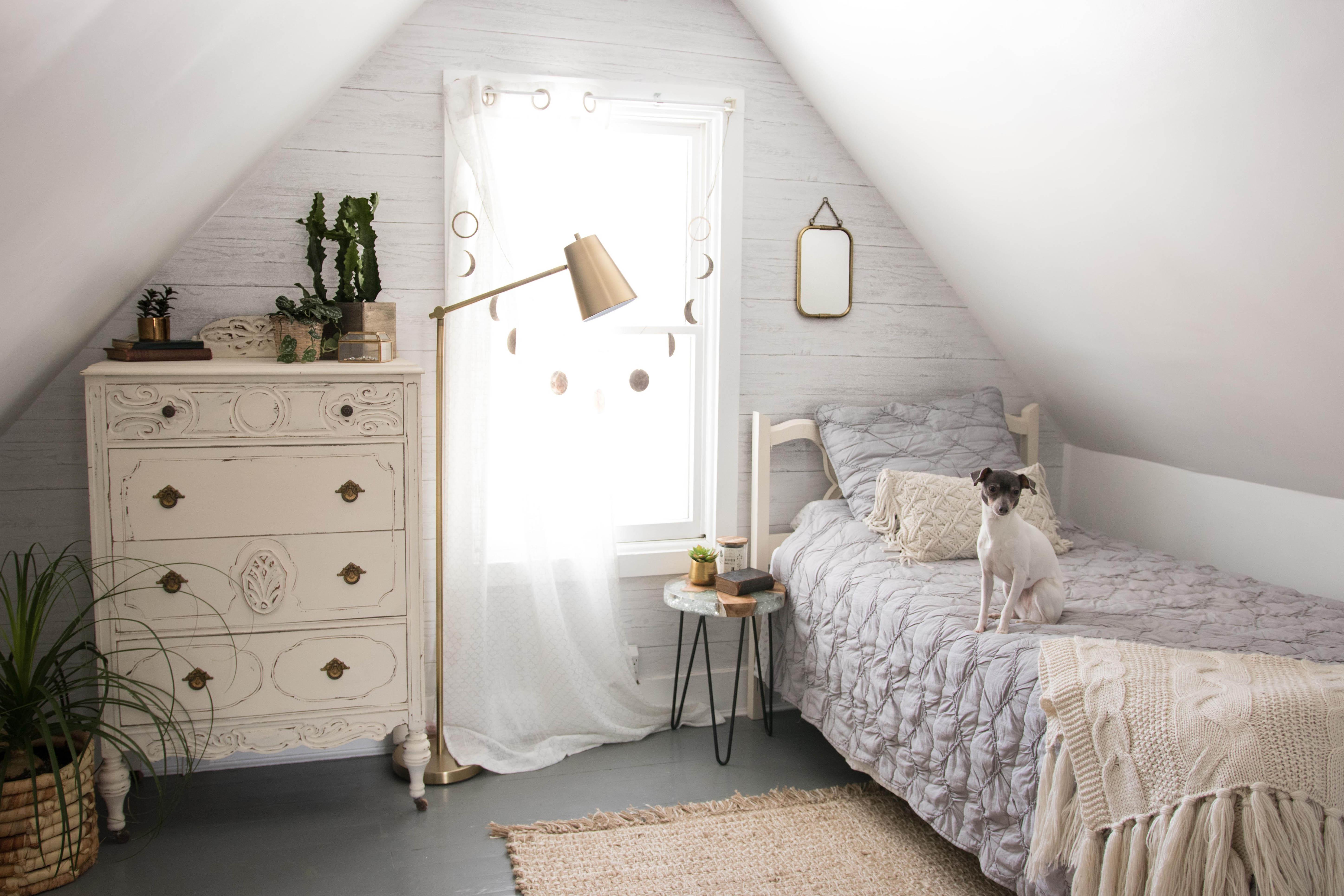 bright white bohemian loft bedroom