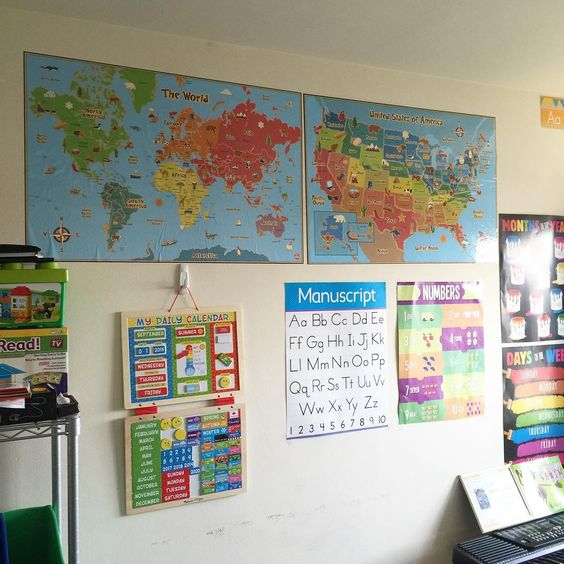 Dry erase maps in a home school environment