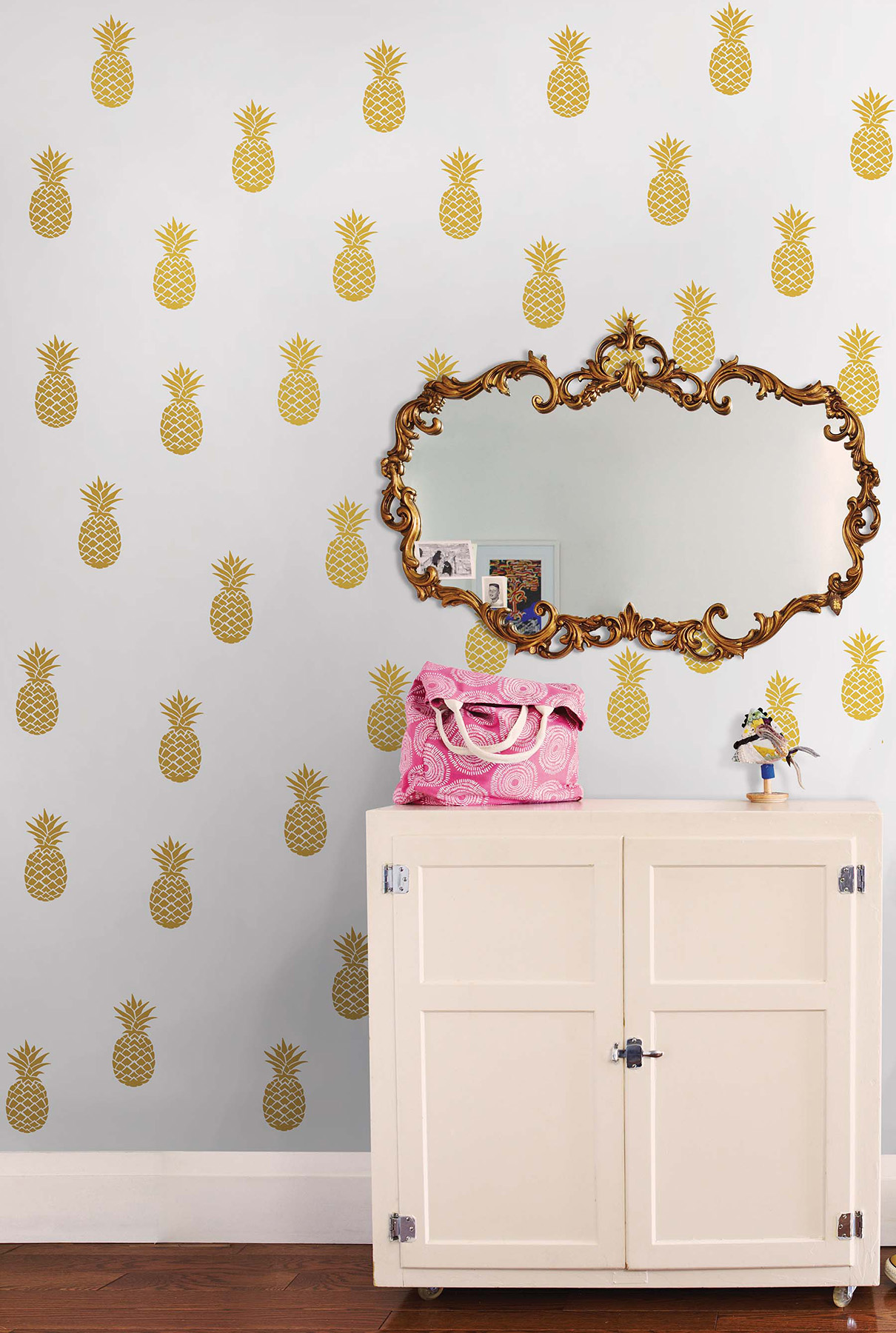 metallic gold pineapple wall decals