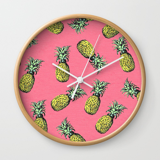 pink pineapple clock