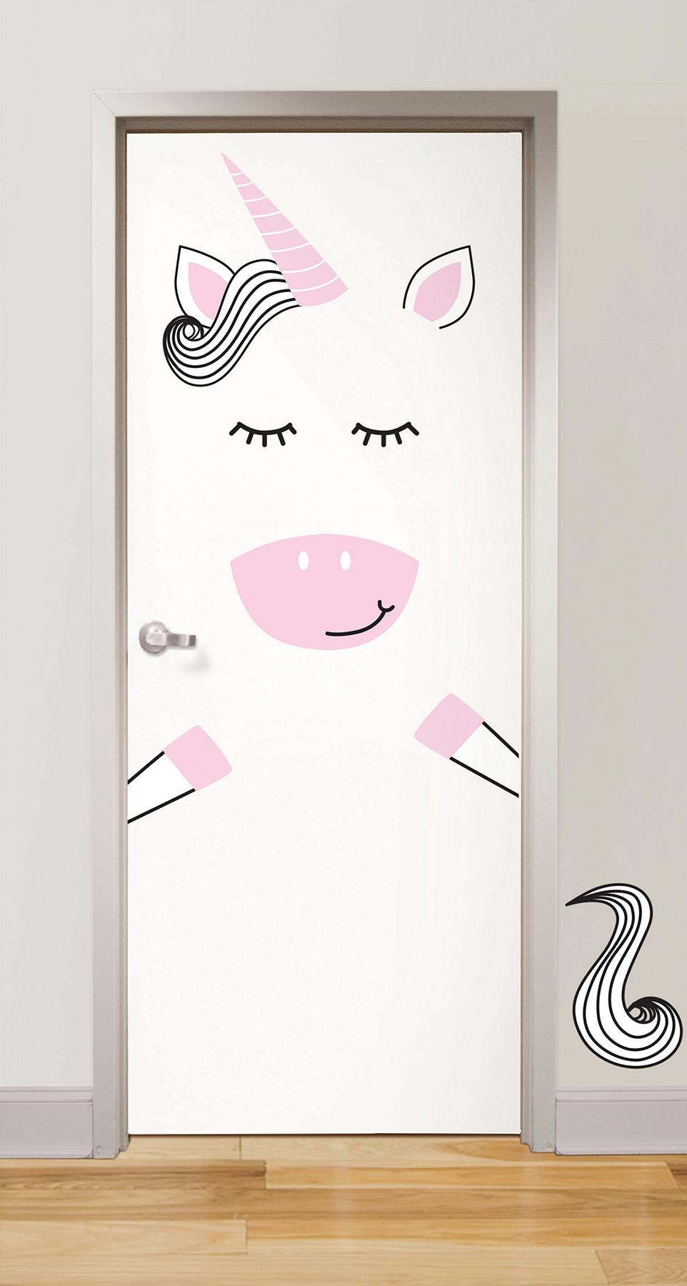 unicorn door decal