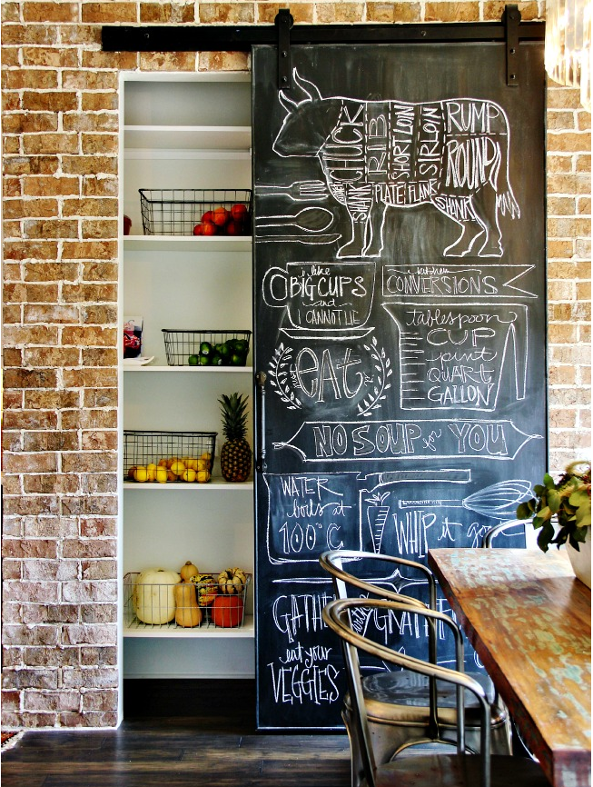 Chalkboard surface on pantry door - draw art, write shopping lists, meal prep etc!