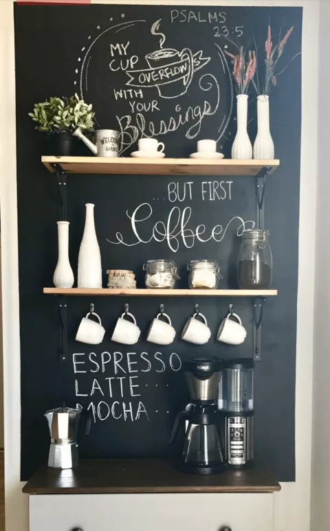 Coffee prep station in kitchen with a dry erase wall