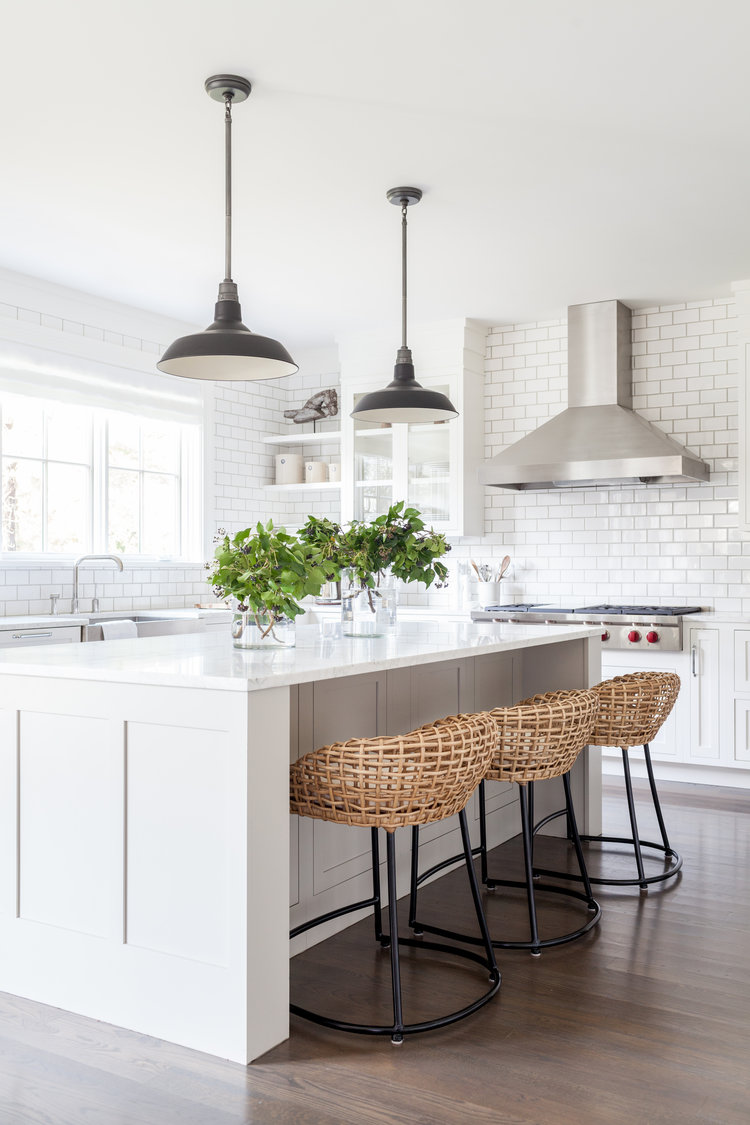 Subway tile in modern minimalist/farmhouse kitchen