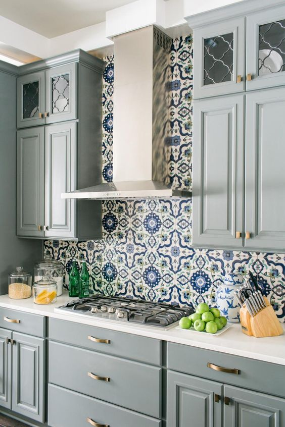 2016 HGTV Smart Home with Colorful Patterned Tile Backsplash Kitchen - blue grey cabinets with gold hardware