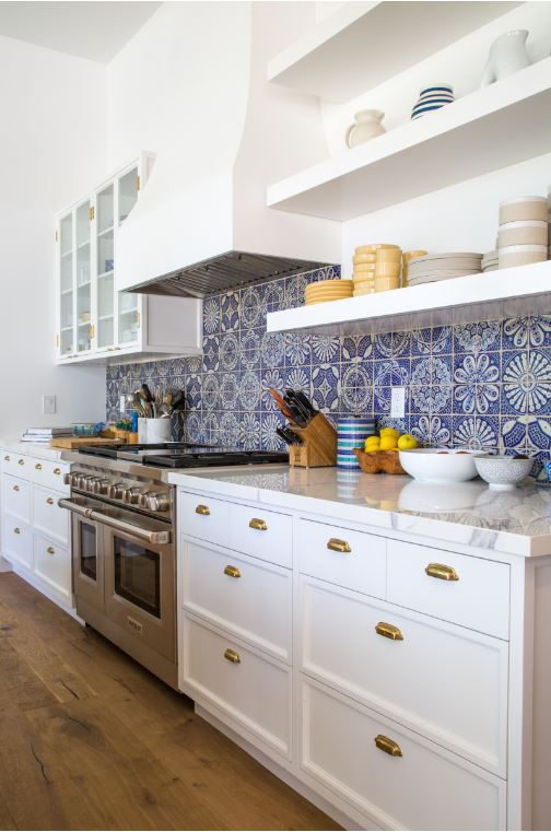 Eclectic Modern Kitchen with Moroccan Inspired Blue Tile Backsplash